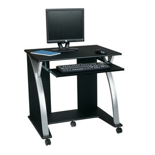 Black/ Silver Rolling Computer Desk Cart with Pull-out Keyboard Tray