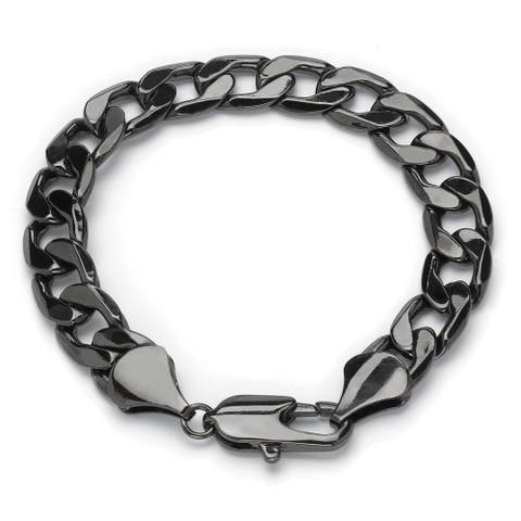 "Men's Black Ruthenium-Plated Curb-Link Bracelet (12mm), 9"""