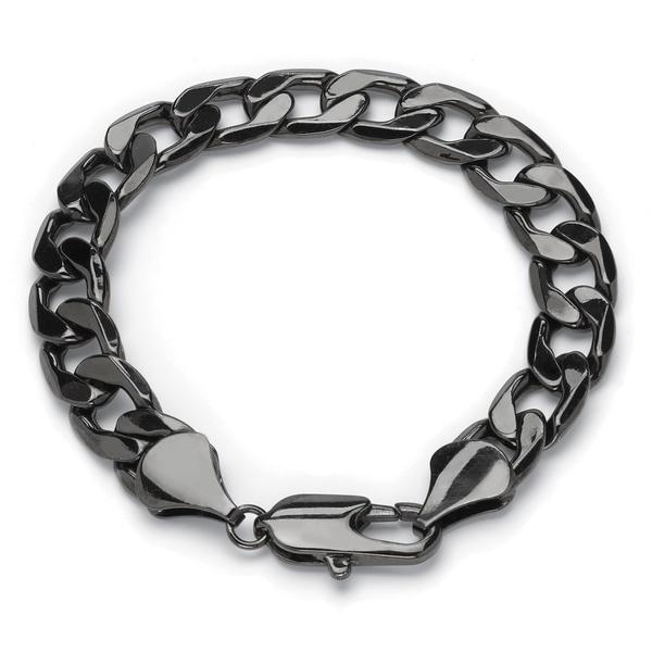 "Men's Black Ruthenium-Plated Curb-Link Bracelet (12mm), 9"". Opens flyout."