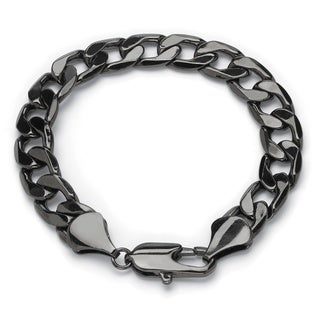 Men's 12 mm Curb-Link Chain Bracelet in Black Ruthenium 9""