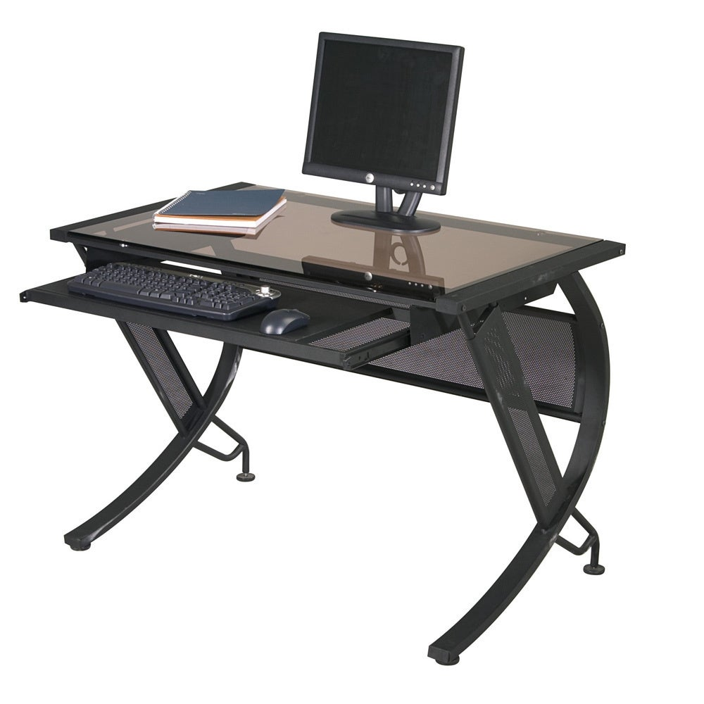 Black Metal Sepia Glass Computer Desk With Keyboard Tray On Sale Overstock 9104496