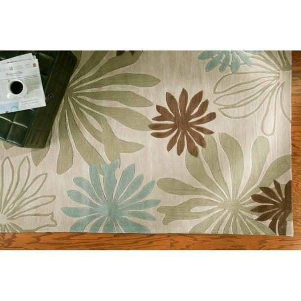 "LR Home Fashion Blue/ Ivory Floral Area Rug - 5' x 7'9"""