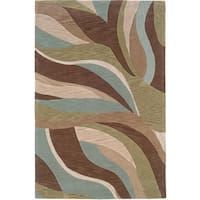 LR Home Fashion Blue/ Brown Abstract Area Rug (5'3 x 7'5) - 5'3 x 7'5