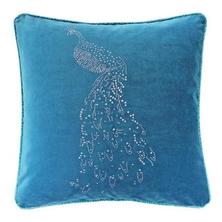 Rhinestone Peacock Turqoise Velvet 20-inch Throw Pillow