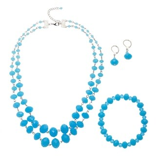 Alexa Starr Double Strand Opalescence Crystal Necklace Earring and Bracelet Jewelry Set
