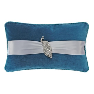 Rhinestone Peacock Brooch Silk Ribbon Turqoise 12 x 20-inch Throw Pillow