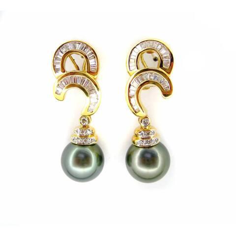 Kabella Luxe Vintage 18k Gold 1 3/4ct TDW Diamond Tahitian Pearl Dangle Estate Earrings (H-I, I1-I2) (11-12 mm)