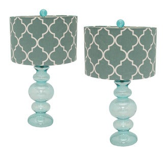 Casa Cortes Hollywood Regency 26-inch Artisan Glass Table Lamp - Set of 2