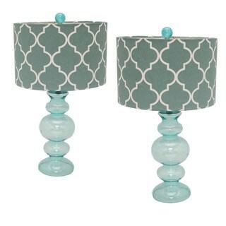 Casa Cortes Hollywood Regency 26-inch Artisan Glass Table Lamp - Set of 2