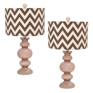 Casa Cortes Chevron Zig-zag 26-inch Artisan Glass Table Lamp - Set of 2