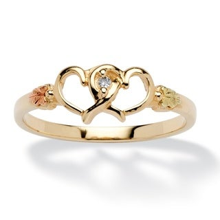 PalmBeach Round Diamond Accent Interlocking Hearts Ring in 12k Black Hills and 10k Gold