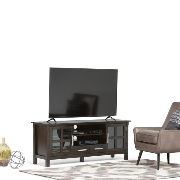 shop wyndenhall waterloo 60 inch wide tv stand for up to 66 inch tv 39 s on sale free shipping. Black Bedroom Furniture Sets. Home Design Ideas