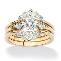3 Piece 1/7 TCW Round Diamond Bridal Ring Set in 18k Gold over Sterling Silver
