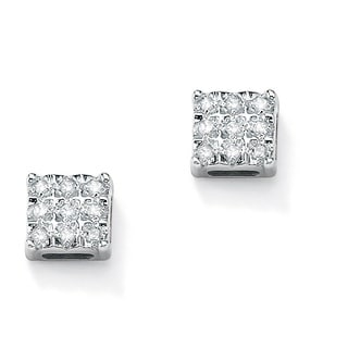 PalmBeach .14 TCW Round Diamond Platinum over Sterling Silver Square-Shaped Stud Earrings