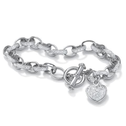 "Diamond Accent Oval-Link Heart Charm Bracelet Platinum-Plated 7 1/4"""