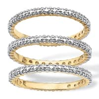 PalmBeach Gold Overlay Stackable Diamond Accent Bands (I-J, I2-I3) (Set of 3)