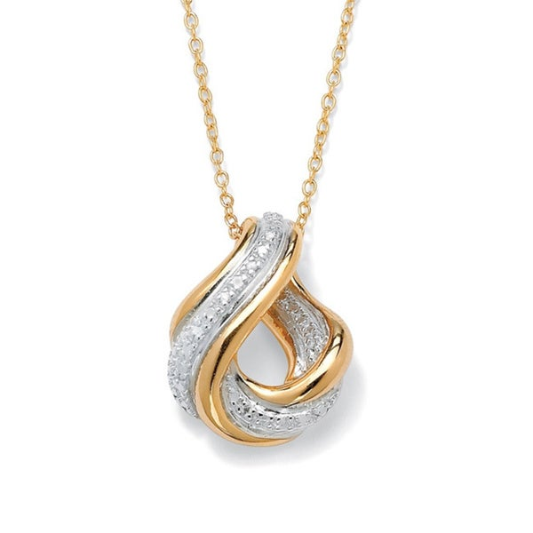 Diamond Accent Swirled Pendant Necklace in 18k Gold over Sterling Silver