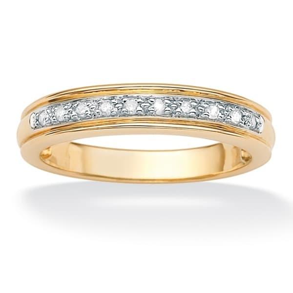 Men's .10 TCW Round Diamond 10k Yellow Gold Anniversary Ring Wedding Band