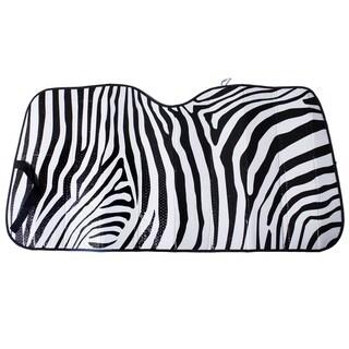 OxGord Universal White Zebra Stripe Auto Sun Shade Visor
