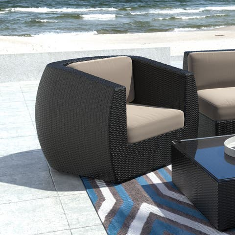 CorLiving Seattle Patio Chair in Textured Black Weave