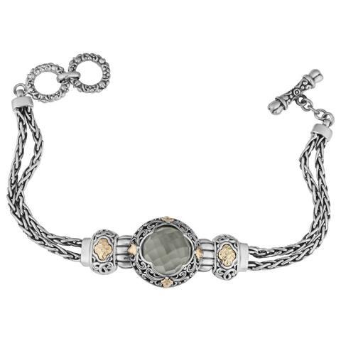 Handmade Gold and Silver Prasiolite Floral Bracelet (Bali)