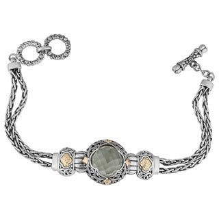 Handmade 18k Yellow Gold and Sterling Silver Prasiolite Floral Cawi Bracelet (Indonesia)