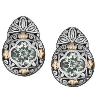Handmade 18k Gold and Sterling Silver Prasiolite Floral Cawi Earrings (Indonesia)