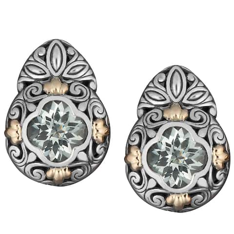 Handmade Gold and Silver Green Amethyst Floral Earrings (Indonesia)