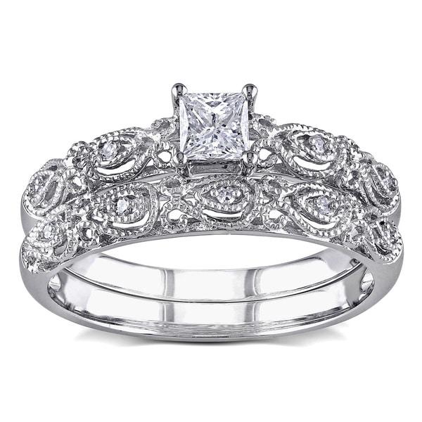 Miadora Signature Collection 10k White Gold 1/3ct TDW Diamond Vintage Bridal Set