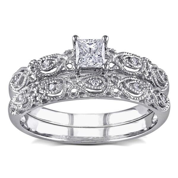 Miadora 10k White Gold 1/3ct TDW Diamond Vintage Bridal Engagement Ring Stackable Set