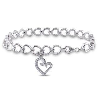 Miadora Sterling Silver 1/4ct TDW Diamond Heart Bracelet (H-I, I2-I3)