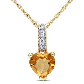 Miadora 10k Yellow Gold Citrine and Diamond Heart Necklace