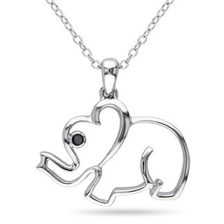 Miadora Sterling Silver Black Diamond Elephant Necklace