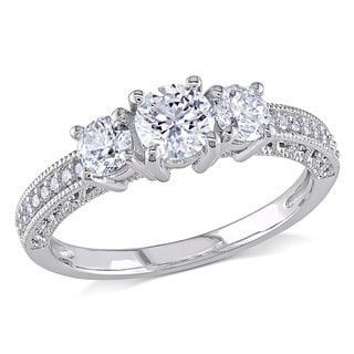 Miadora Signature Collection 14k White Gold 1ct TDW Diamond Three Stone Ring