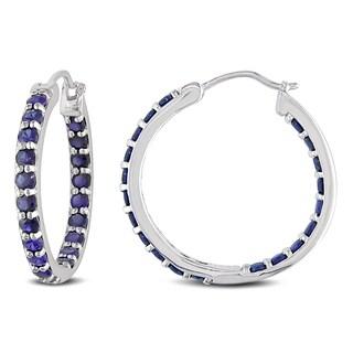Miadora Sterling Silver Created Blue Sapphire Hoop Earrings