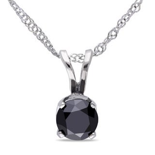 Miadora 10k White Gold 1/2ct TDW Black Diamond Solitaire Necklace