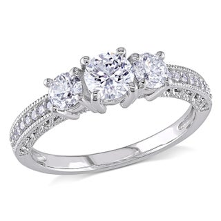 Miadora Signature Collection 14k White Gold 1ct TDW Diamond 3-stone Vintage Engagement Ring (More options available)