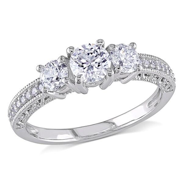 Miadora Signature Collection 14k White Gold 1ct TDW Diamond 3-stone Vintage Engagement Ring