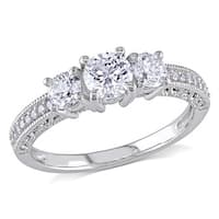 Miadora Signature Collection 14k White Gold 1ct TDW Diamond 3-stone Vintage Engagement Ring
