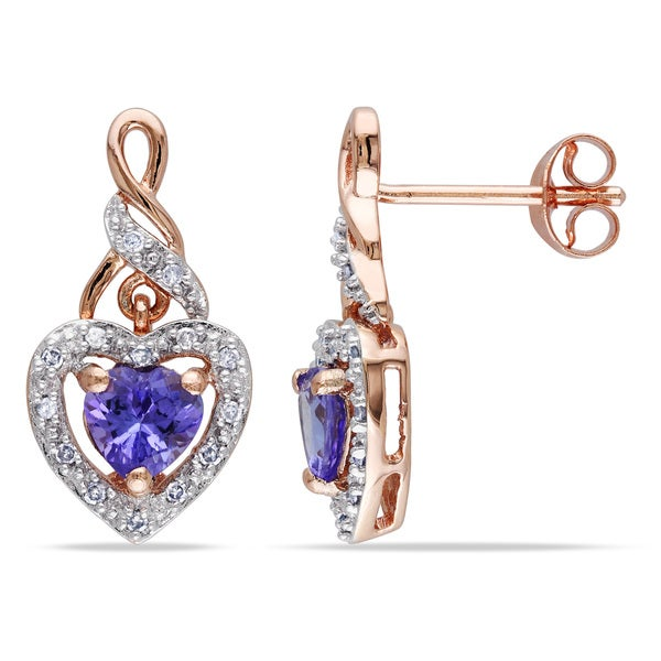 Miadora Rose Plated Silver Tanzanite and 1/8ct TDW Diamond Heart Earrings (H-I, I2-I3)