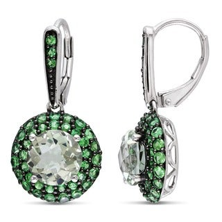 Miadora Sterling Silver 5 1/4ct TGW Green Amethyst and Tsavorite Halo Earrings