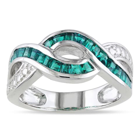 Miadora Sterling Silver Green Corundum Ring