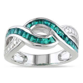 Miadora Sterling Silver Imitation Emerald Crossover Infinity Ring