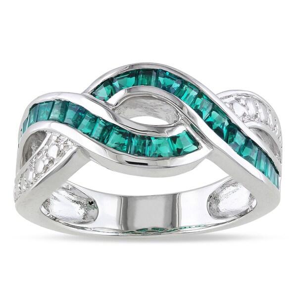 Miadora Sterling Silver Green Corundum Ring