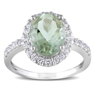 Miadora 10k White Gold Green Amethyst and Created White Sapphire Ring