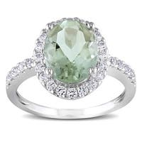 Miadora 10k White Gold Green Amethyst and Created White Sapphire Halo Ring