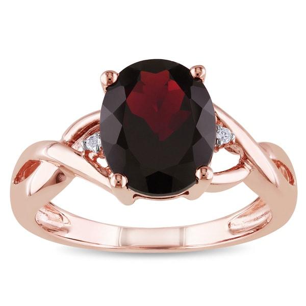 Miadora 10k Rose Gold 3ct TGW Garnet and Diamond Accent Ring