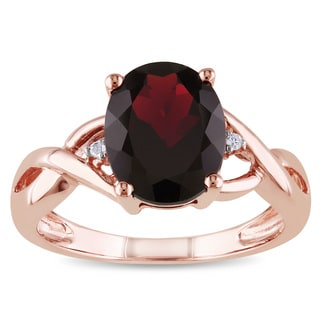 Miadora 10k Rose Gold 3ct TGW Garnet and Diamond Accent Ring