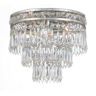 Crystorama Mercer Collection 3-light Olde Silver Flush Mount Chandelier