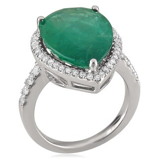 Montebello 14KT White Gold Emerald and 3/5ct TDW Diamond Cocktail Ring